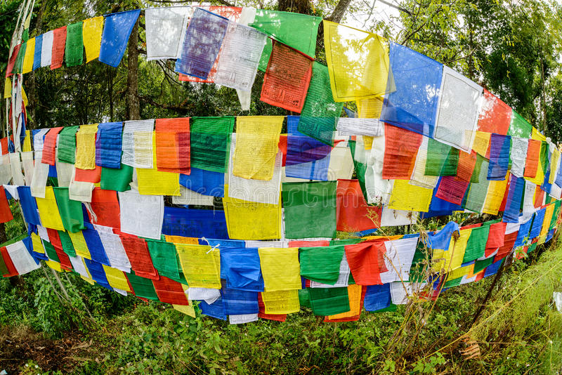 Buddhist praying flags stock photos