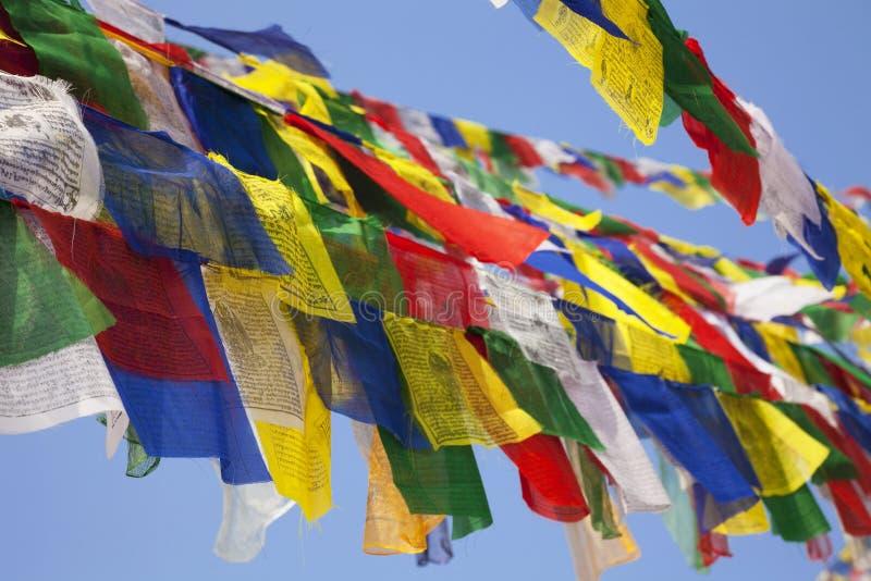 Buddhist Religious Flag at Boudhanath, Nepal royalty free stock photo