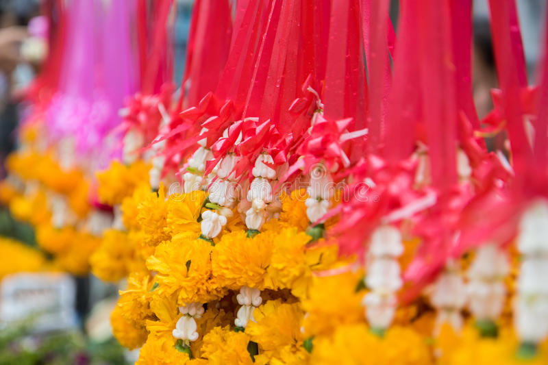 Buddhist`s flowers for worship on the holy day stock images