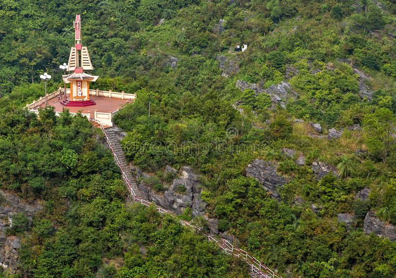 Buddhist sacred site hills evergreen rain-forests stock images