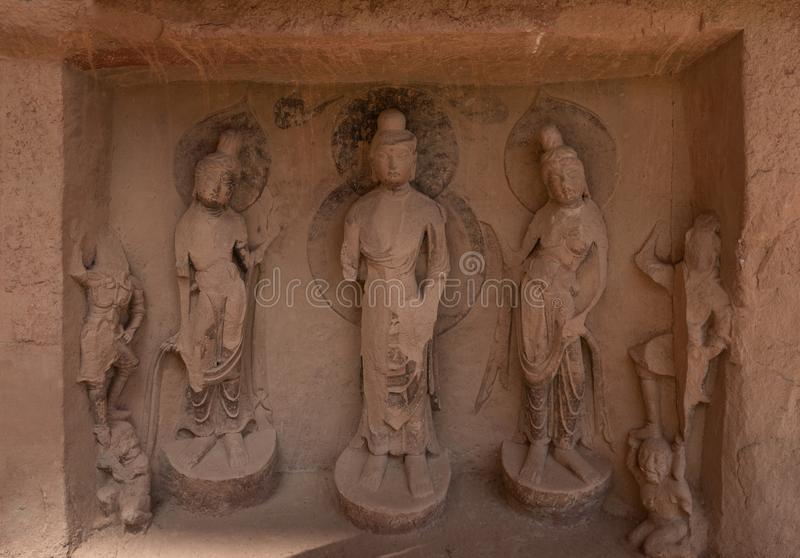 Buddhist sculpture at Bingling Temple. And grottoes in Yongjing, Gansu, China. UNESCO World Heritage Site stock photo