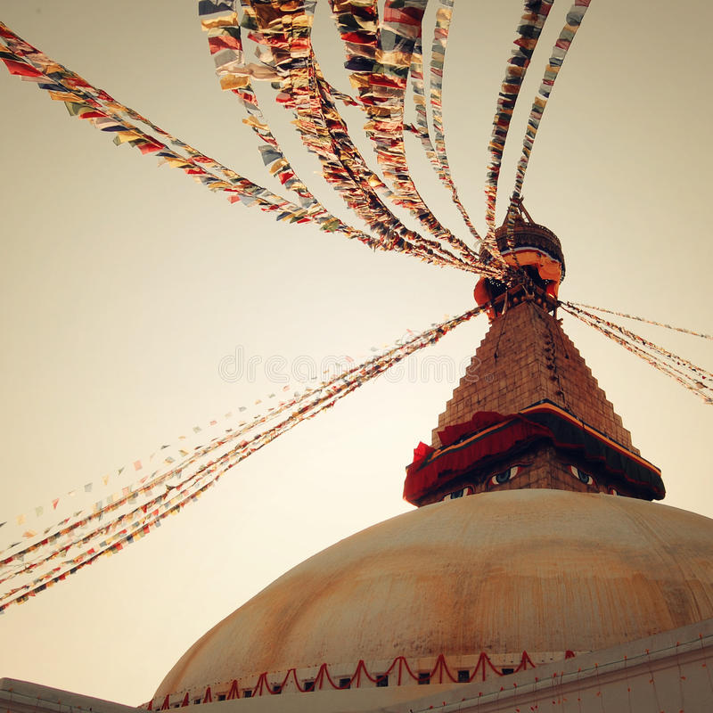 Buddhist shrine Boudhanath Stupa - vintage filter. Stupa with Buddha wisdom eyes. Buddhist shrine Boudhanath Stupa - vintage filter. Stupa with Buddha wisdom stock image