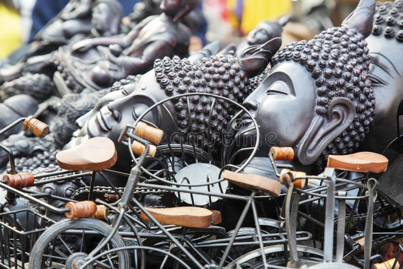 Buddhist souvenirs selling at the street. Of New Dehli stock images