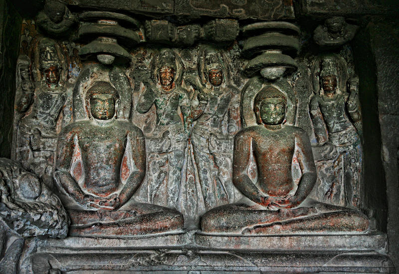Buddhist statue in Ellora Caves royalty free stock photos