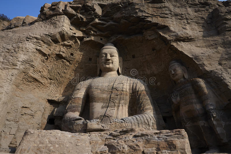 Buddhist statues in Yungang caves, , grottoes, Datong royalty free stock photo