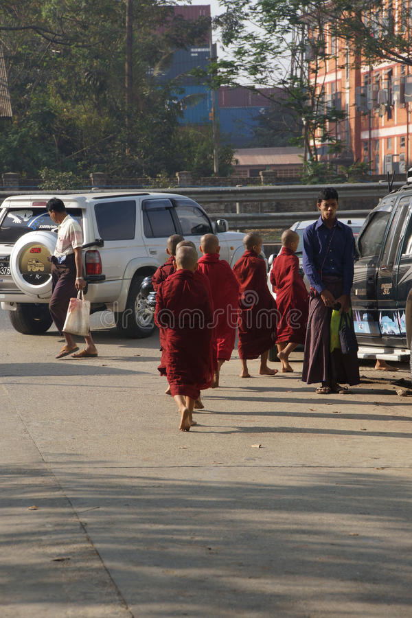 Buddhist students returning to the monastery royalty free stock photography