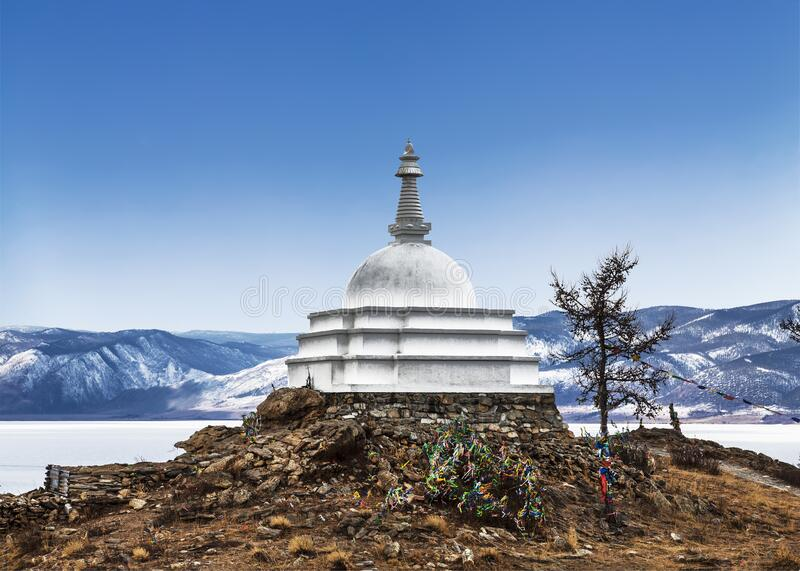 Buddhist Stupa of Enlightenment, lake Baikal, Ogoy island, Siberia,. Russia royalty free stock photography