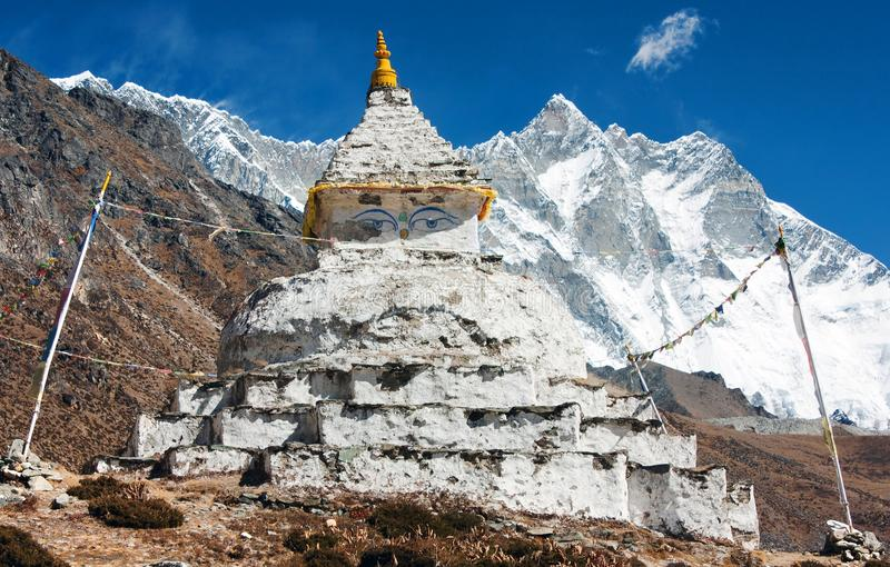 Buddhist stupa with mount Lhotse royalty free stock image