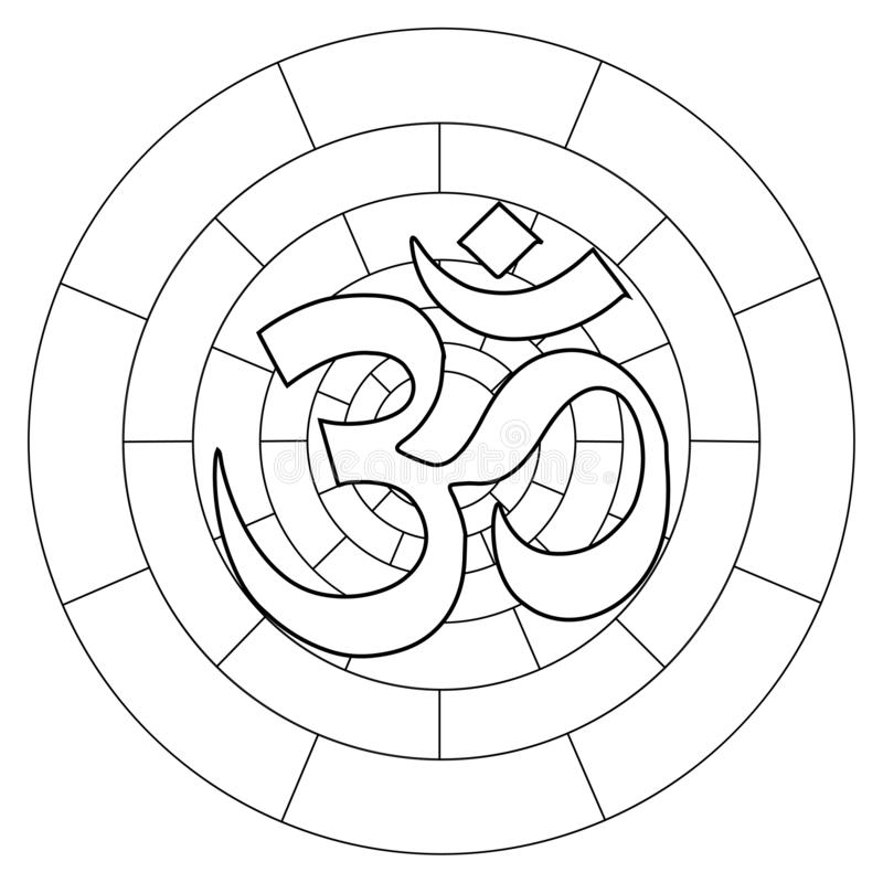 Buddhist symbol Ohm vector illustration on white background. Om. Coloring page vector illustration