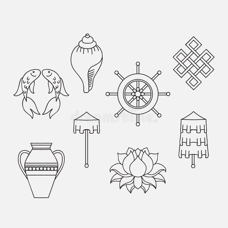 Buddhist symbolism, The 8 Auspicious Symbols of Buddhism, Right-coiled White Conch, Precious Umbrella, Victory Banner, Golden Fish. Dharma Wheel, Auspicious royalty free illustration