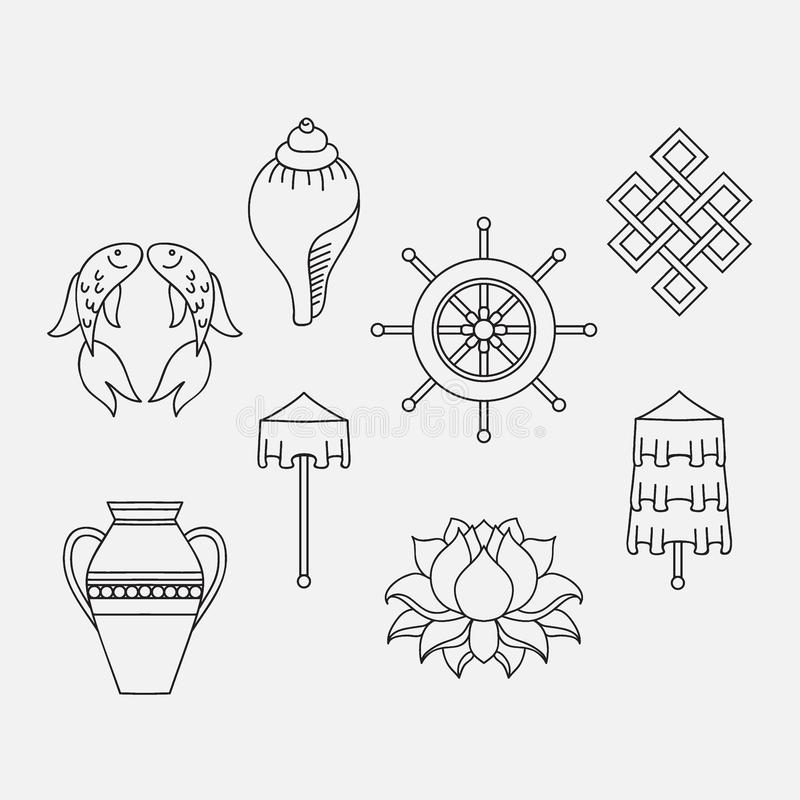 Free Buddhist Symbolism, The 8 Auspicious Symbols Of Buddhism, Right-coiled White Conch, Precious Umbrella, Victory Banner, Golden Fish Royalty Free Stock Image - 76952376