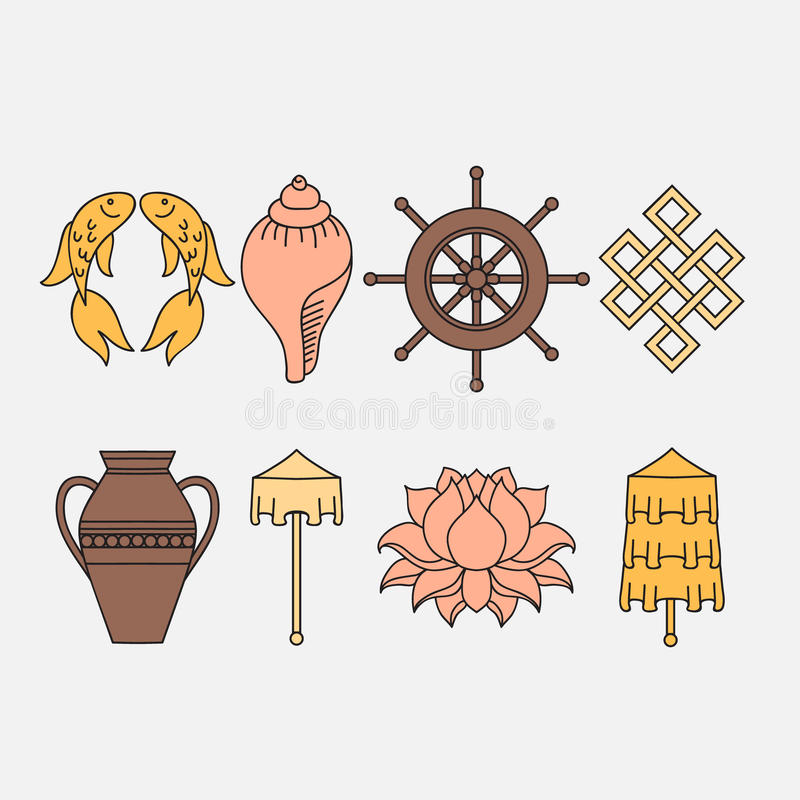 Free Buddhist Symbolism, The 8 Auspicious Symbols Of Buddhism, Right-coiled White Conch, Precious Umbrella, Victory Banner, Golden Fish Royalty Free Stock Photography - 77508637
