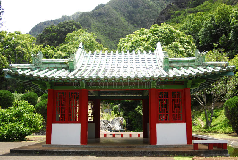 Buddhist temple. Red buddhist temple in Maui Hawaii royalty free stock photos