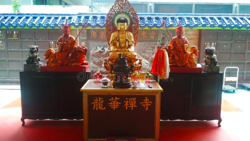Buddhist temple altar royalty free stock photo