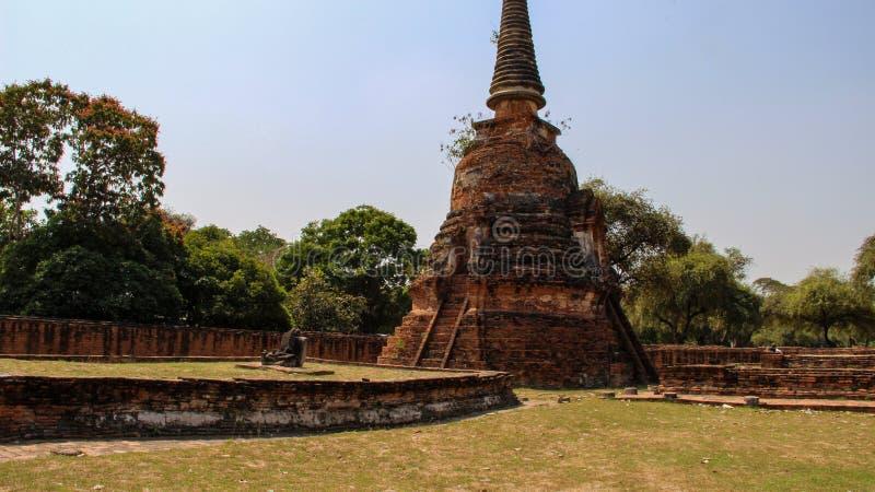 Buddhist temple with ancient stupa in Ayutthaya, Bangkok, Thailand royalty free stock photo