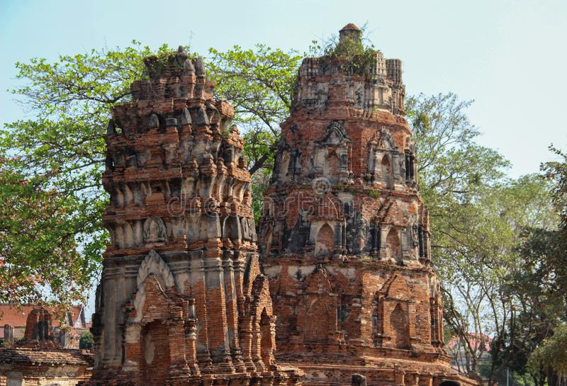 Buddhist temple with ancient stupa in Ayutthaya , Thailand royalty free stock photos