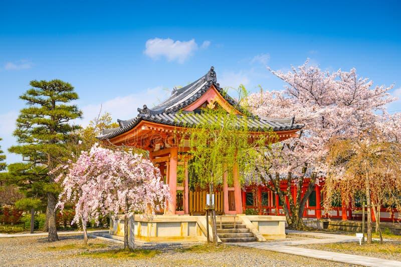 Buddhist Temple Bellhouse in Spring. Buddhist Temple bellhouse during spring season at Sanjusangendo Shrine, Kyoto, Japan stock photos