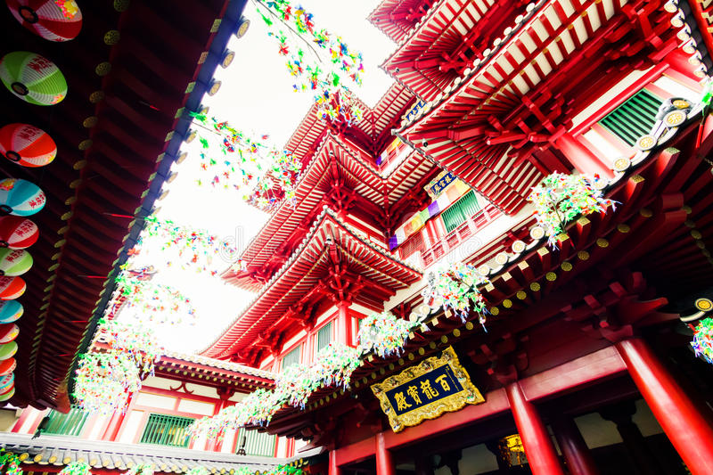 Buddhist temple. The biggest buddhist temple in Singapore. Located in Chinatown neighbourhood, features Tang Dynasty architecture royalty free stock images