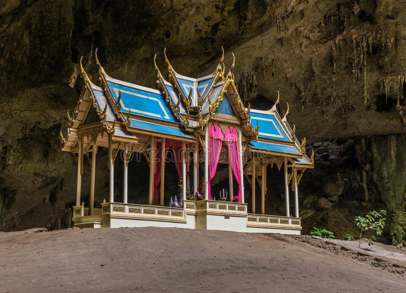 A buddhist temple is in the cave of Tham Phraya Nakhon Cave. royalty free stock photo