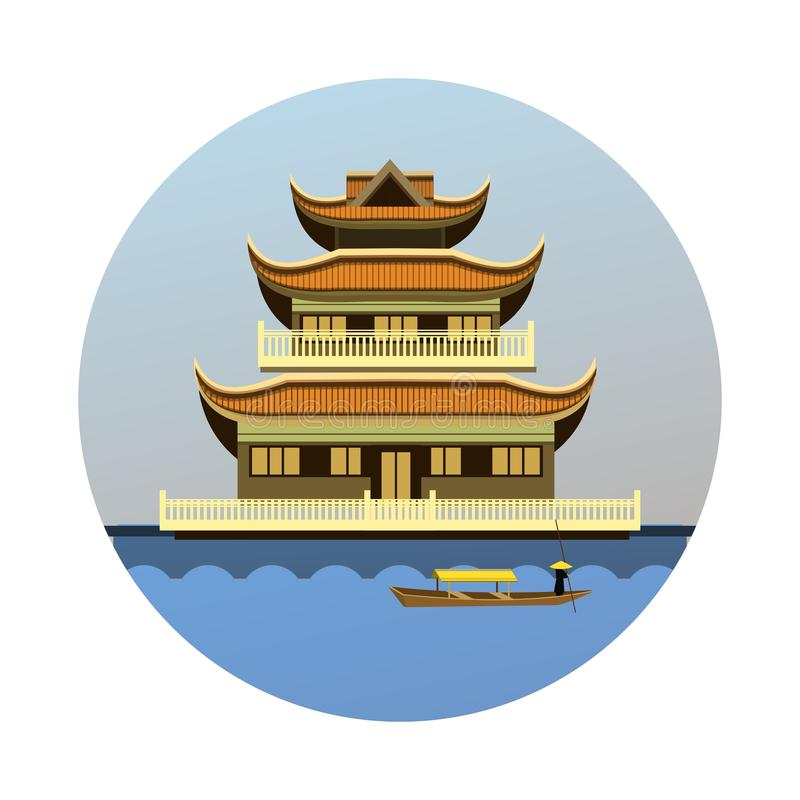 Buddhist temple emblem royalty free illustration
