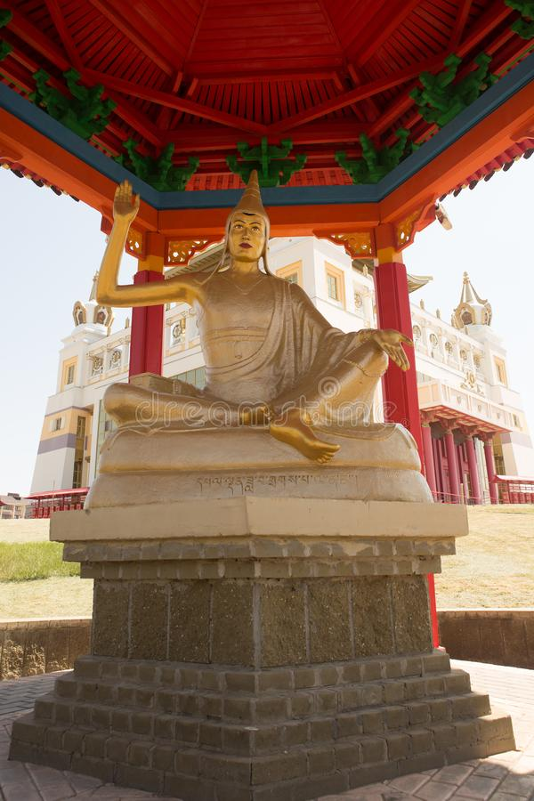 Buddhist temple Golden Abode of Buddha Shakyamuni in Elista, Republic of Kalmykia, Russia, sculptures of 17 great Pandits of. Buddhist temple Golden Abode of royalty free stock image