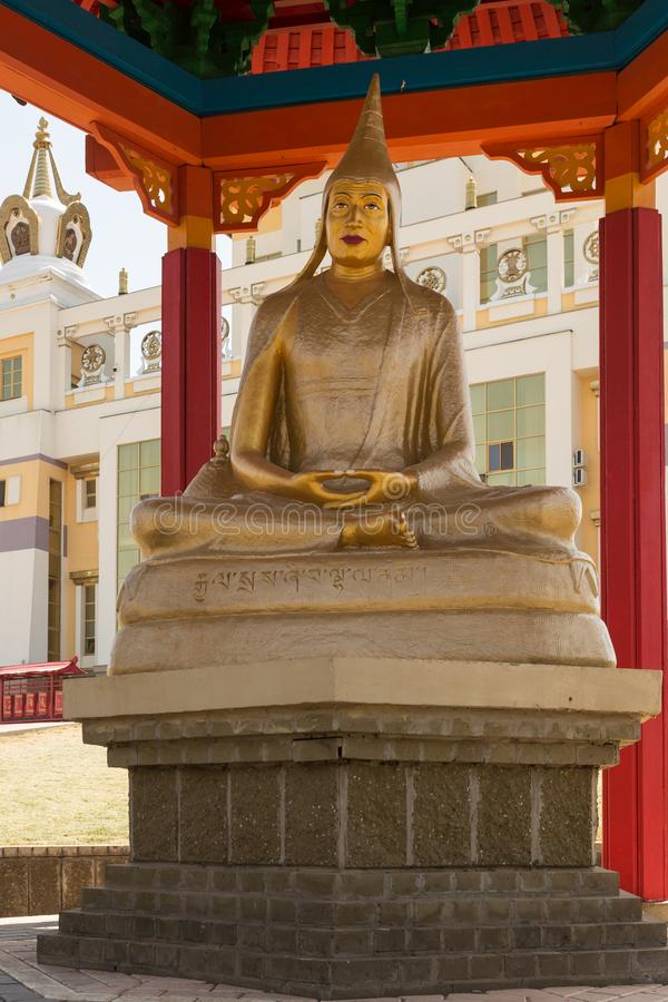 Buddhist temple Golden Abode of Buddha Shakyamuni in Elista, Republic of Kalmykia, Russia, sculptures of 17 great Pandits of. Buddhist temple Golden Abode of royalty free stock photos