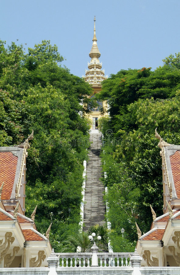 Buddhist temple on hilltop royalty free stock image