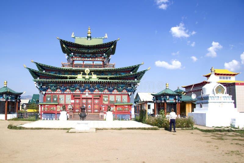 Buddhist temple in the Ivolginsky datsan near Ulan-Ude. Buryatia, Russia royalty free stock photo