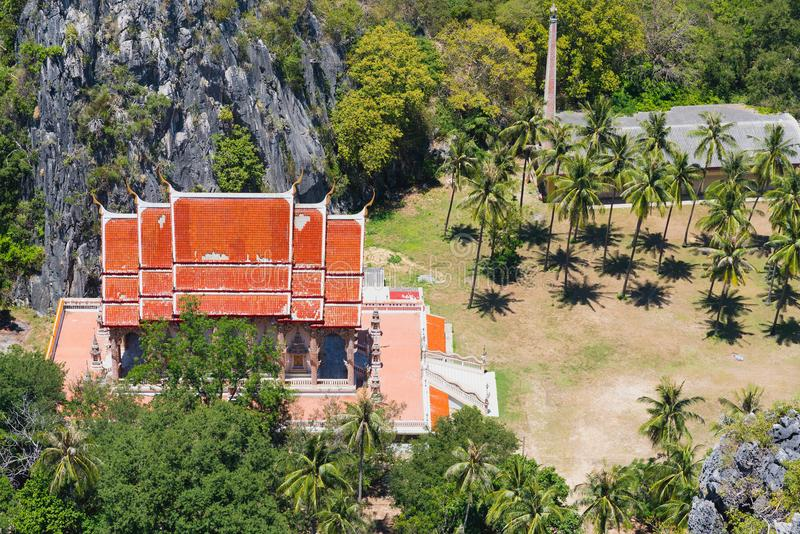 Buddhist temple in Khao Sam Roi Yot National Park. Buddhist temple seen from Khao Daeng View Point, Khao Sam Roi Yot National Park, Prachuap Khiri Khan, Thailand royalty free stock images