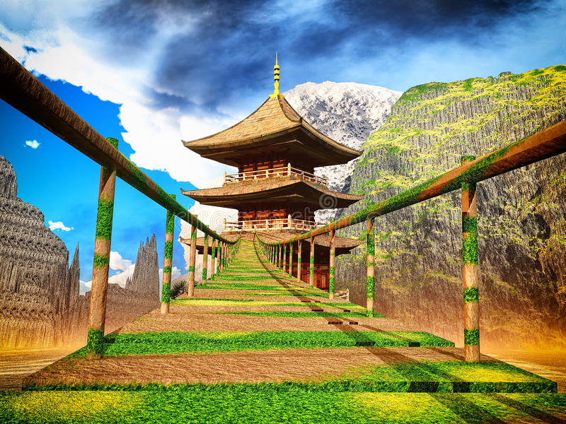 Buddhist temple in mountains with old Japanese rope bridge 3d rendering royalty free illustration