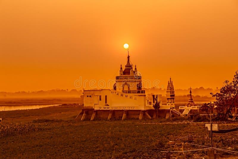 Mandalay. Buddhist temple near U bein bridge, Amarapura, Mandalay, Myanmar stock photography
