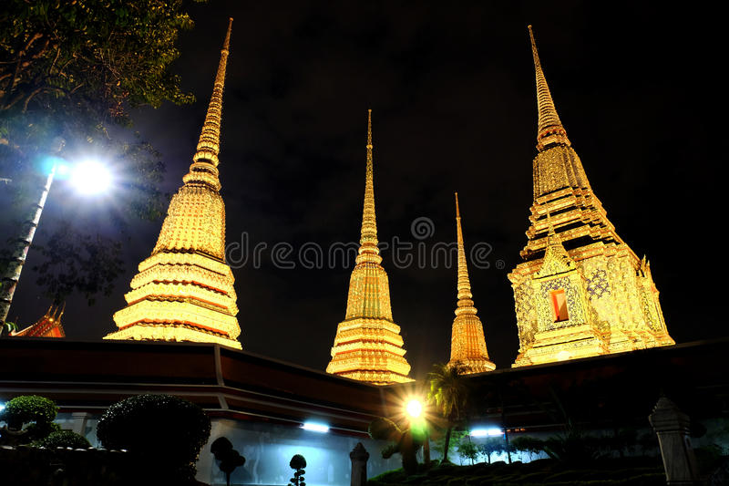 Buddhist Temple in the night royalty free stock photography