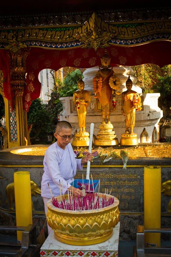 Buddhist Temple Nun Bangkok Thailand royalty free stock photo