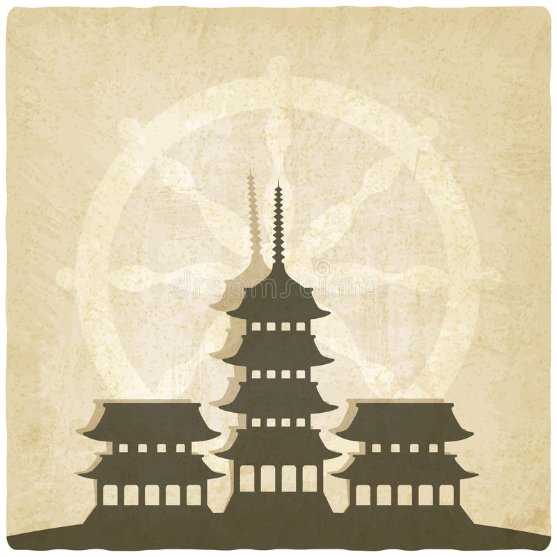 Buddhist temple old background stock illustration