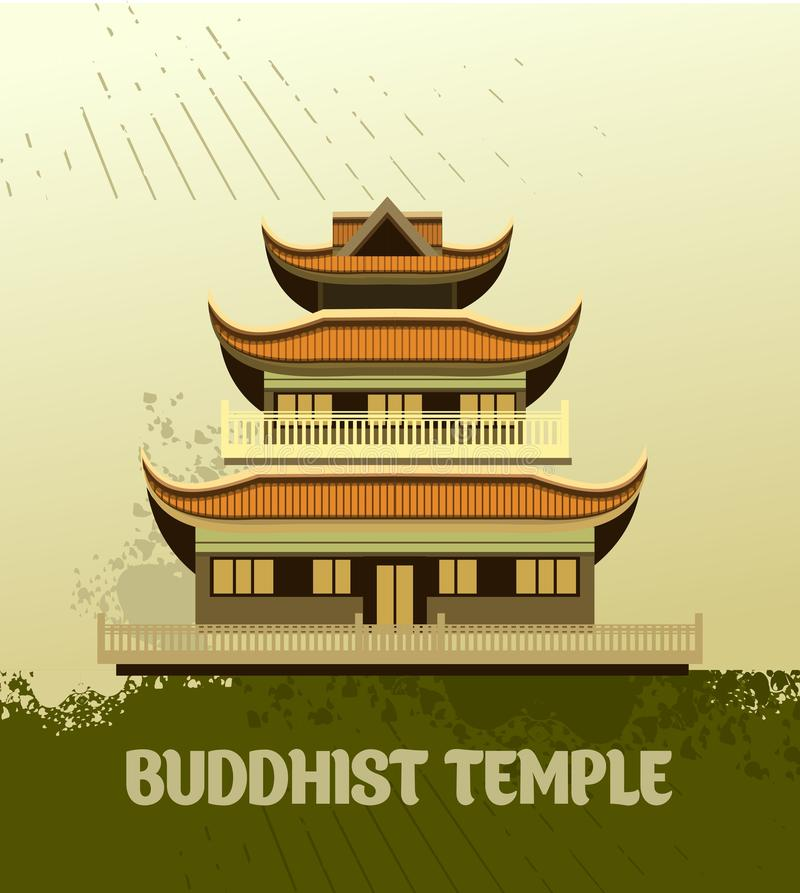 Buddhist Temple old stock illustration