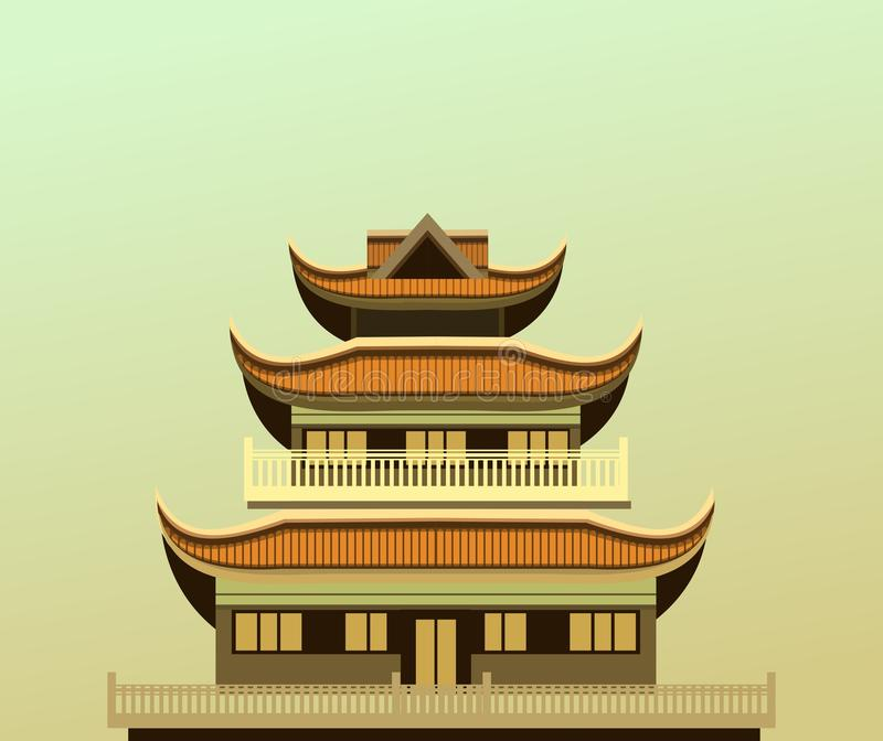 Buddhist Temple old vector illustration