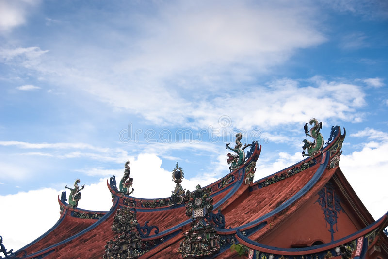 Buddhist temple roof royalty free stock photography