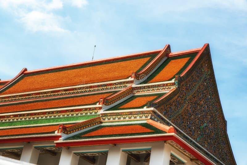 Buddhist temple roof, Bangkok, Thailand. Tiles temple roof bangkok thailand royalty free stock image