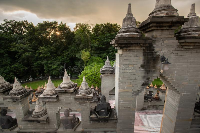 Buddhist Temple : Sandstone Pagoda in Pa Kung Temple at Roi Et of Thailand. Buddhist Temple:Sandstone Pagoda in Pa Kung Temple at Roi Et of Thailand royalty free stock images