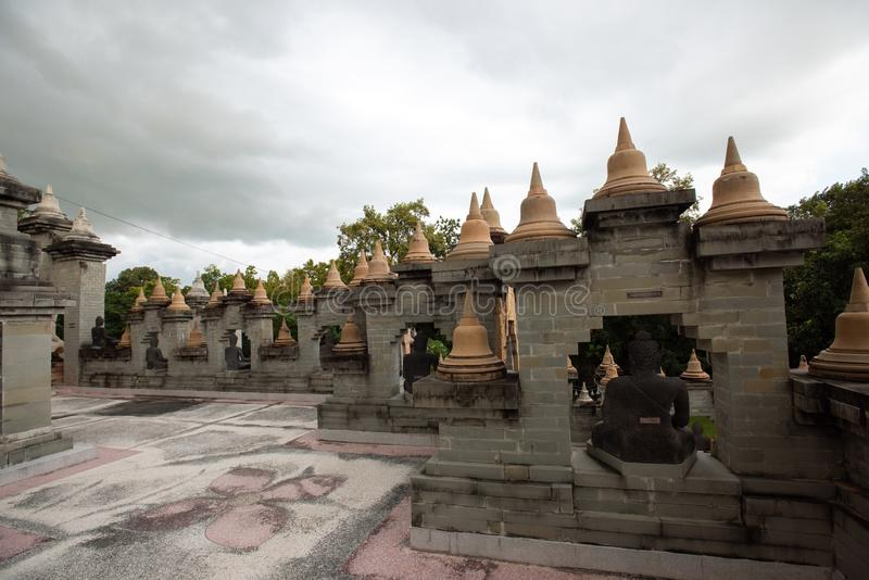 Buddhist Temple : Sandstone Pagoda in Pa Kung Temple at Roi Et of Thailand. Buddhist Temple:Sandstone Pagoda in Pa Kung Temple at Roi Et of Thailand royalty free stock photo