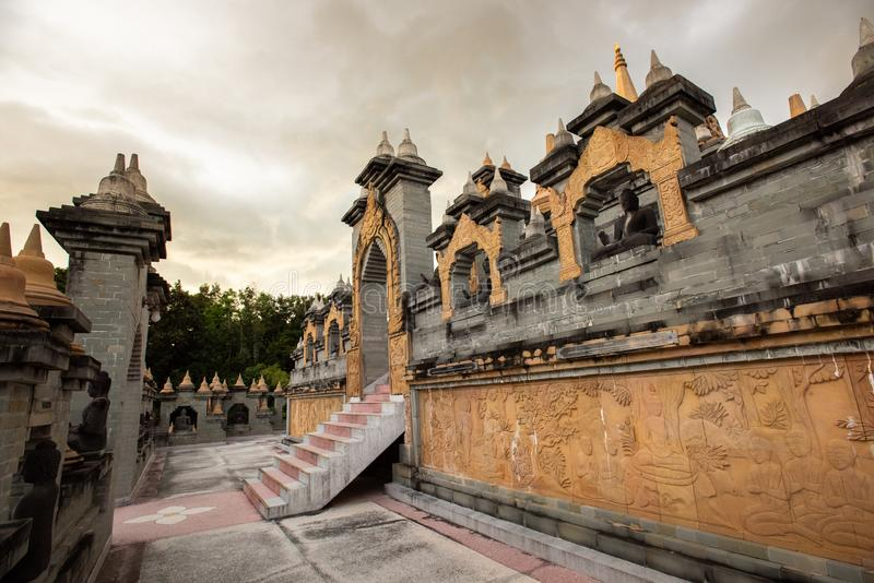 Buddhist Temple : Sandstone Pagoda in Pa Kung Temple at Roi Et of Thailand. Buddhist Temple:Sandstone Pagoda in Pa Kung Temple at Roi Et of Thailand royalty free stock image