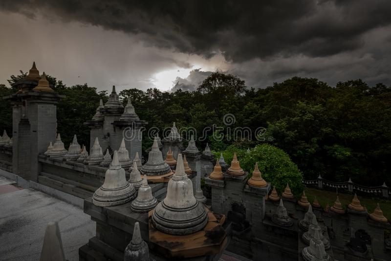 Buddhist Temple : Sandstone Pagoda in Pa Kung Temple at Roi Et of Thailand. Buddhist Temple:Sandstone Pagoda in Pa Kung Temple at Roi Et of Thailand stock photography