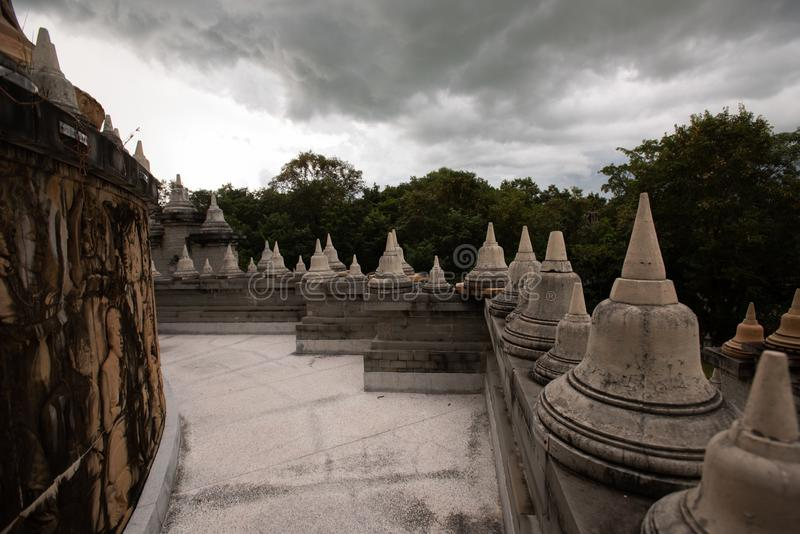 Buddhist Temple : Sandstone Pagoda in Pa Kung Temple at Roi Et of Thailand. Buddhist Temple:Sandstone Pagoda in Pa Kung Temple at Roi Et of Thailand stock images