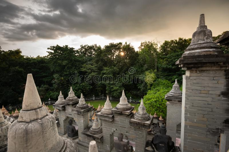 Buddhist Temple : Sandstone Pagoda in Pa Kung Temple at Roi Et of Thailand. Buddhist Temple : Sandstone Pagoda in Pa Kung Temple at Roi Et ,Thailand royalty free stock image