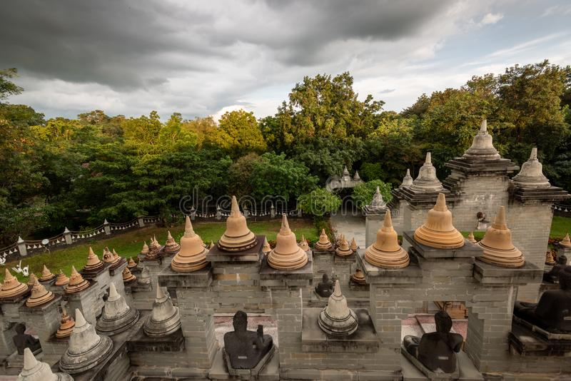 Buddhist Temple : Sandstone Pagoda in Pa Kung Temple at Roi Et of Thailand. Buddhist Temple : Sandstone Pagoda in Pa Kung Temple at Roi Et ,Thailand royalty free stock photos
