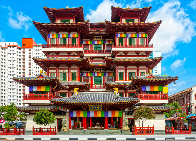 Buddhist temple in Singapore royalty free stock photo