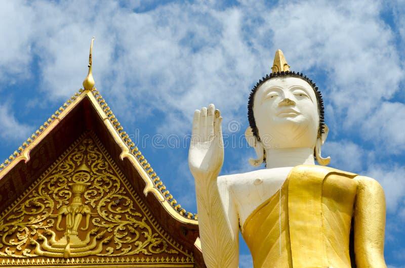 Buddhist temple in Vientiane, Laos. Buddhist temple ans Buddha statue in Vientiane, Laos stock photography