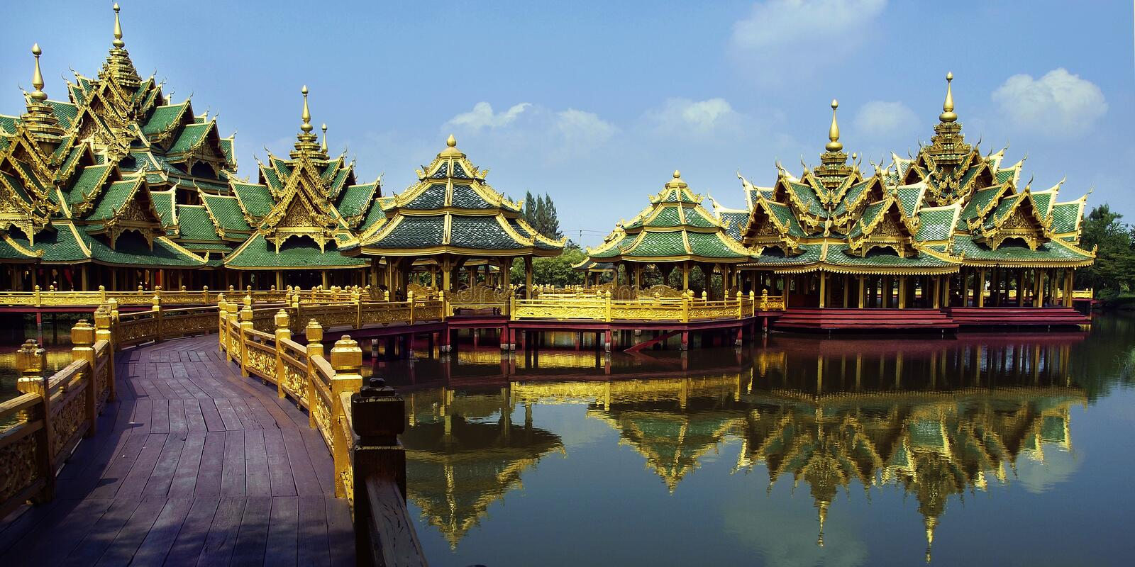 Buddhist temple. View of Buddhist temple built on lake stock photography
