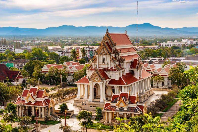 Buddhist temple Wat Thammikaram in Prachuap Khiri Khan, Thailand. Picture taken form the Khao Chong Krachok Hill in Town of Prachuap Khiri Khan, Thailand. View royalty free stock photography
