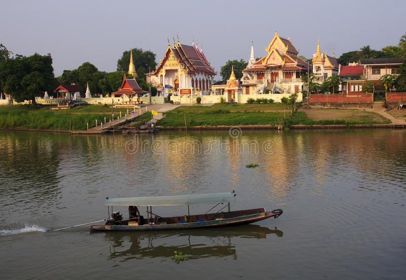 Buddhist temples on the river in Ayutthaya royalty free stock photos